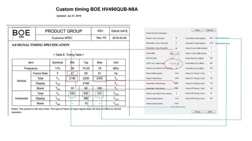 BOE HV490QUB-N8A custom timing